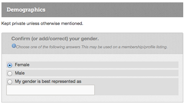 Trans/genderqueer friendly survey/user data capture methodology
