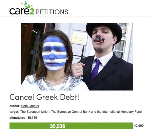 Care2 petition to cancel greek debt